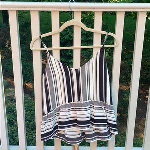 Aqua Black and White Striped Peplum Top